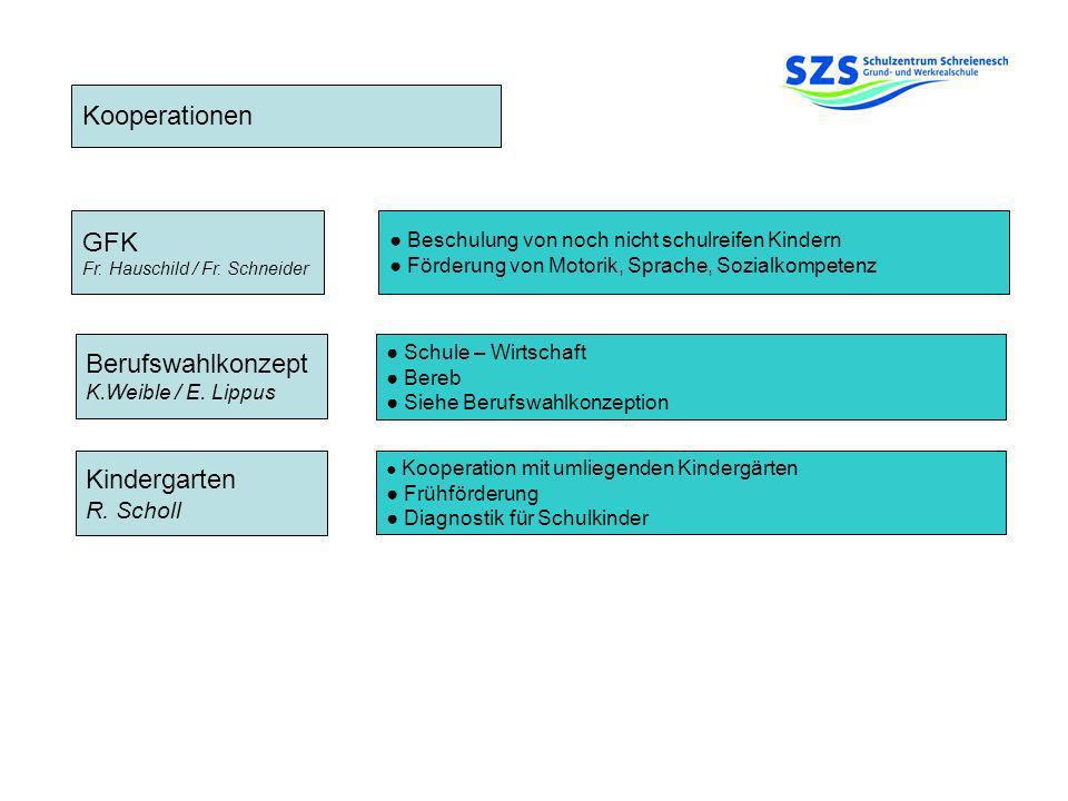 Kooperationen Berufswahlkonzept K.Weible / E. Lippus Kindergarten R. Scholl GFK Fr. Hauschild / Fr. Schneider Beschulung von noch nicht schulreifen Ki