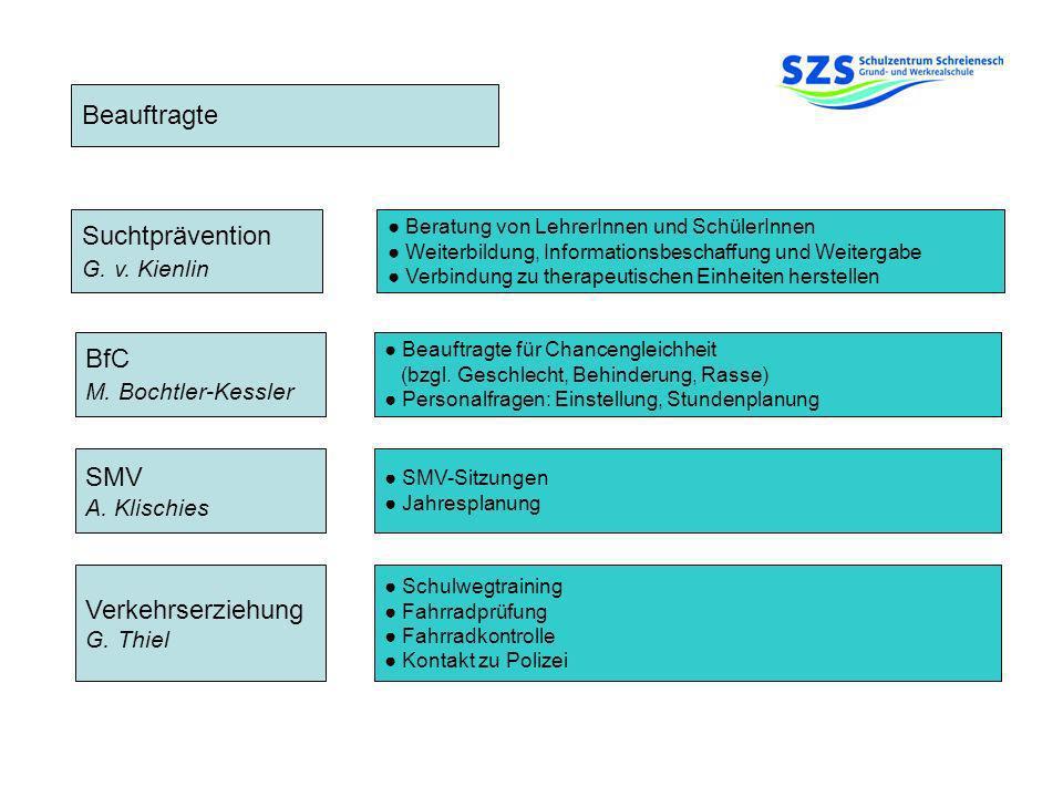 Beauftragte BfC M. Bochtler-Kessler SMV A. Klischies Suchtprävention G. v. Kienlin Beratung von LehrerInnen und SchülerInnen Weiterbildung, Informatio