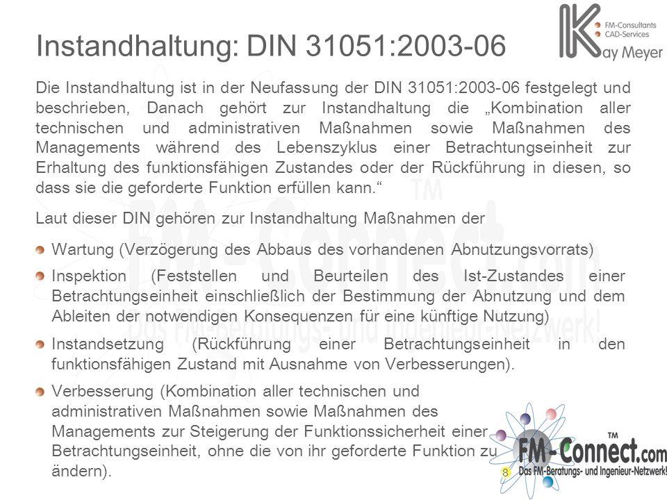 8 Instandhaltung: DIN 31051:2003-06 Die Instandhaltung ist in der Neufassung der DIN 31051:2003-06 festgelegt und beschrieben, Danach gehört zur Insta
