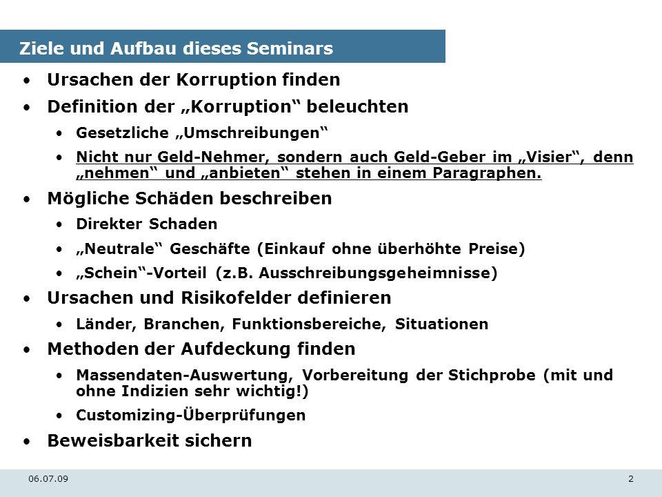 06.07.092 Ziele und Aufbau dieses Seminars Ursachen der Korruption finden Definition der Korruption beleuchten Gesetzliche Umschreibungen Nicht nur Ge
