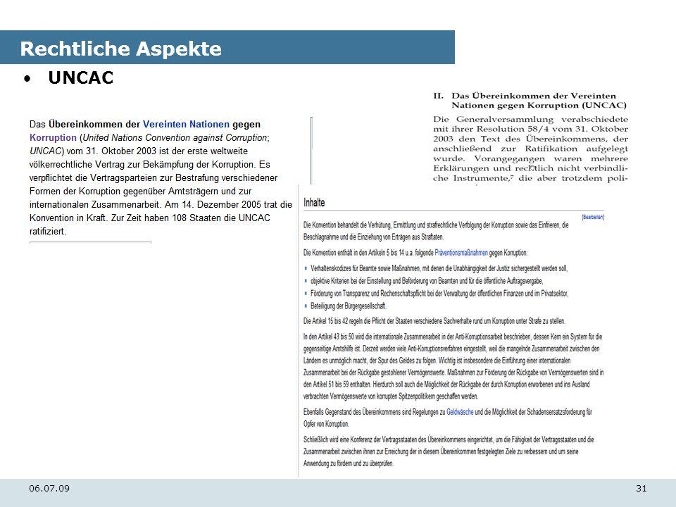 06.07.0931 Rechtliche Aspekte UNCAC