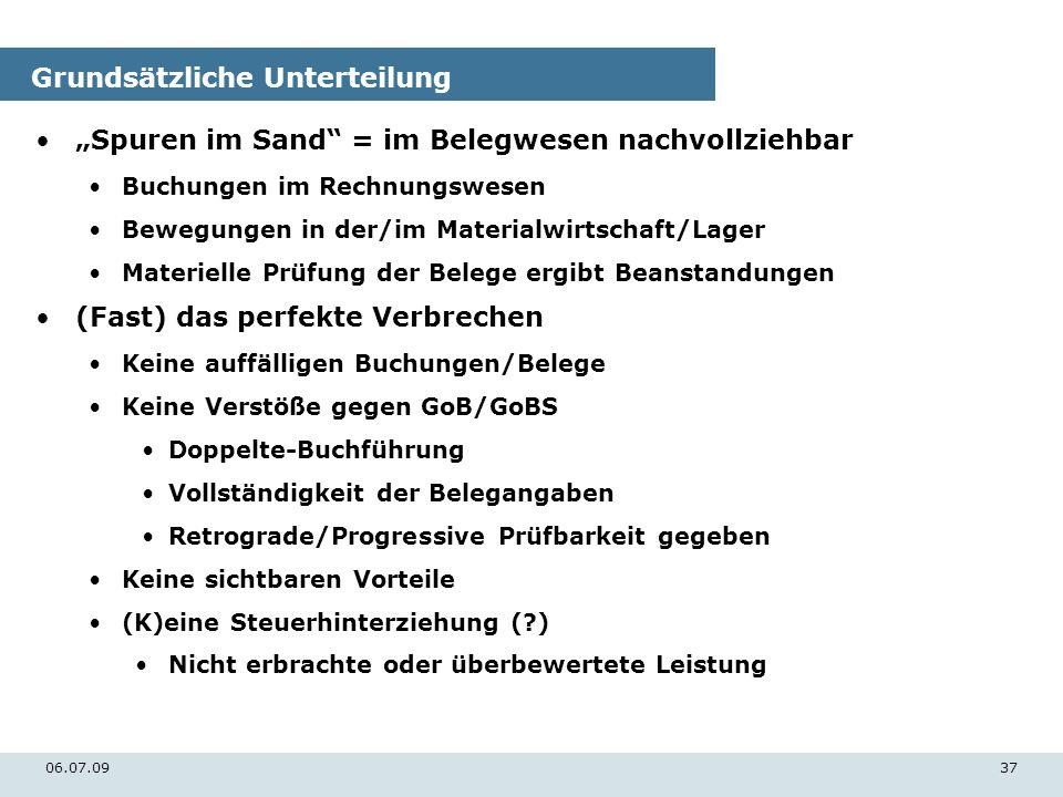 06.07.0937 Grundsätzliche Unterteilung Spuren im Sand = im Belegwesen nachvollziehbar Buchungen im Rechnungswesen Bewegungen in der/im Materialwirtsch