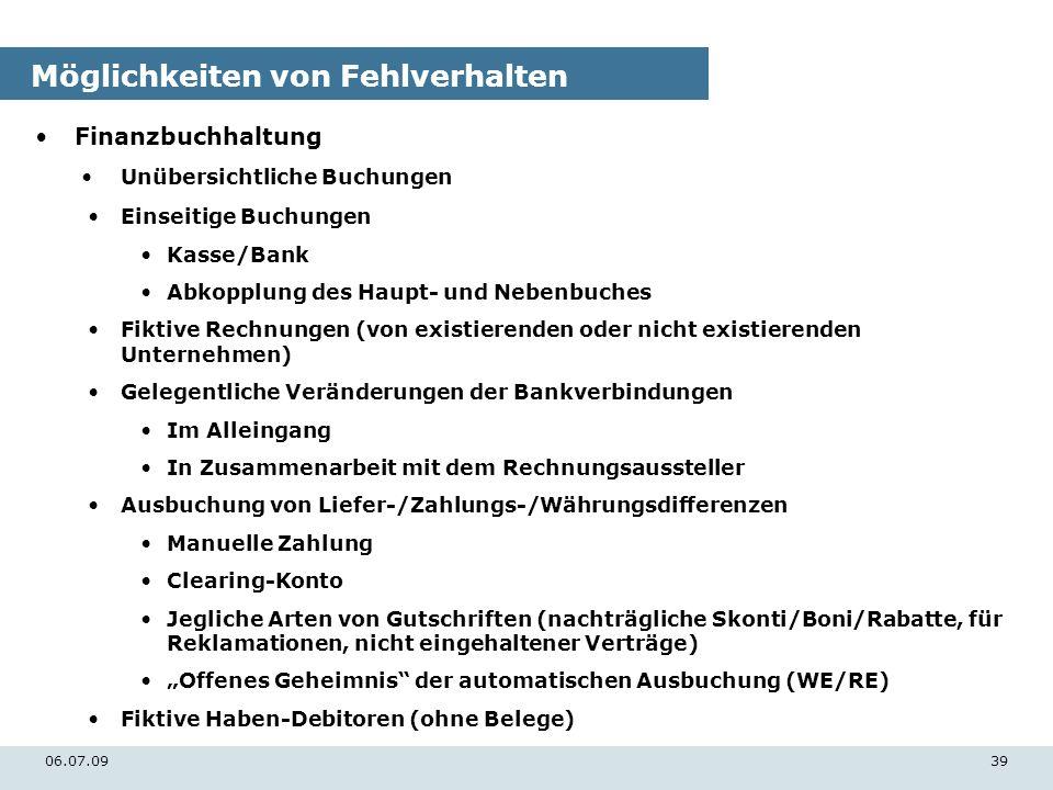 06.07.0939 Möglichkeiten von Fehlverhalten Finanzbuchhaltung Unübersichtliche Buchungen Einseitige Buchungen Kasse/Bank Abkopplung des Haupt- und Nebe