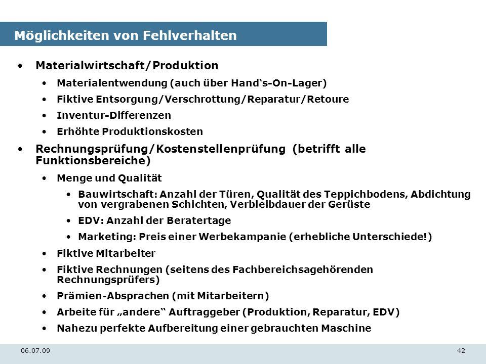 06.07.0942 Möglichkeiten von Fehlverhalten Materialwirtschaft/Produktion Materialentwendung (auch über Hands-On-Lager) Fiktive Entsorgung/Verschrottun