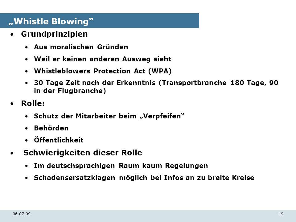 06.07.0949 Whistle Blowing Grundprinzipien Aus moralischen Gründen Weil er keinen anderen Ausweg sieht Whistleblowers Protection Act (WPA) 30 Tage Zei