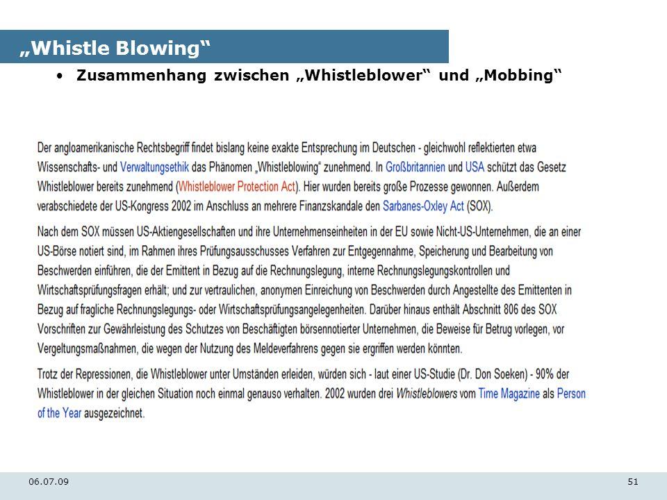 06.07.0951 Whistle Blowing Zusammenhang zwischen Whistleblower und Mobbing