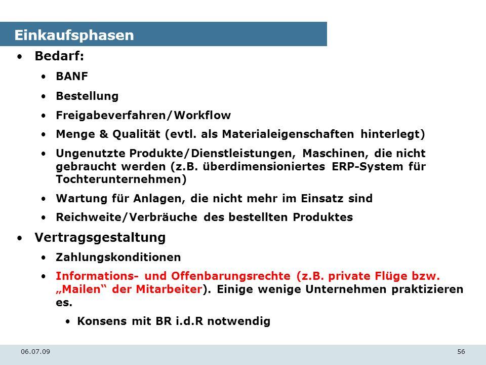 06.07.0956 Einkaufsphasen Bedarf: BANF Bestellung Freigabeverfahren/Workflow Menge & Qualität (evtl. als Materialeigenschaften hinterlegt) Ungenutzte