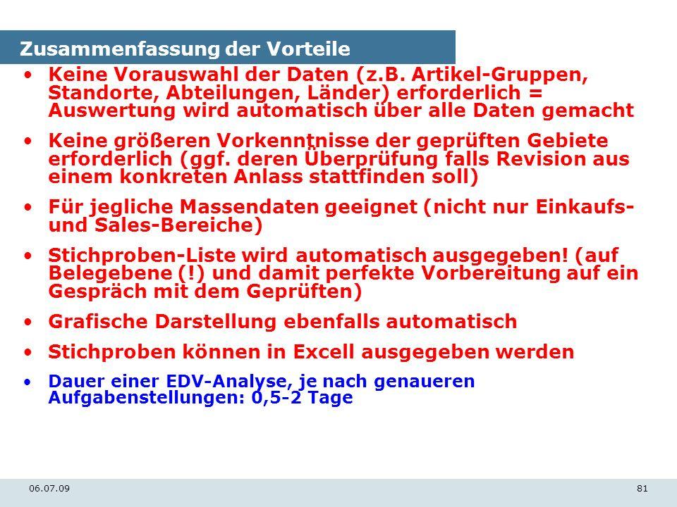 06.07.0981 Zusammenfassung der Vorteile Keine Vorauswahl der Daten (z.B. Artikel-Gruppen, Standorte, Abteilungen, Länder) erforderlich = Auswertung wi