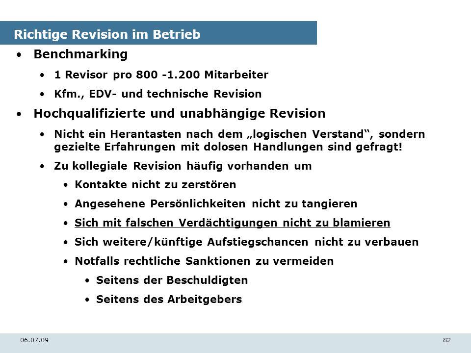 06.07.0982 Richtige Revision im Betrieb Benchmarking 1 Revisor pro 800 -1.200 Mitarbeiter Kfm., EDV- und technische Revision Hochqualifizierte und una