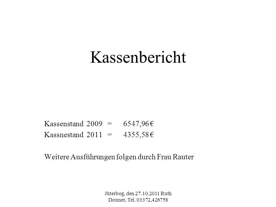 Jüterbog, den 27.10.2011 Ruth Donner, Tel. 03372,426758 Kassenbericht Kassenstand 2009 = 6547,96 Kassnestand 2011 = 4355,58 Weitere Ausführungen folge