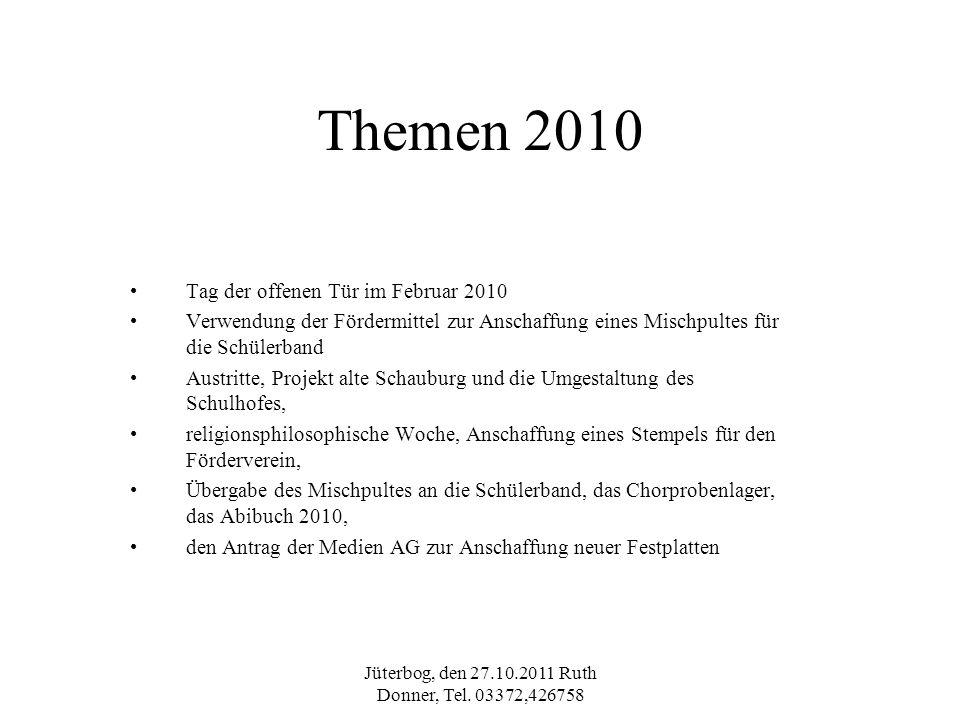 Jüterbog, den 27.10.2011 Ruth Donner, Tel. 03372,426758 Themen 2010 Tag der offenen Tür im Februar 2010 Verwendung der Fördermittel zur Anschaffung ei