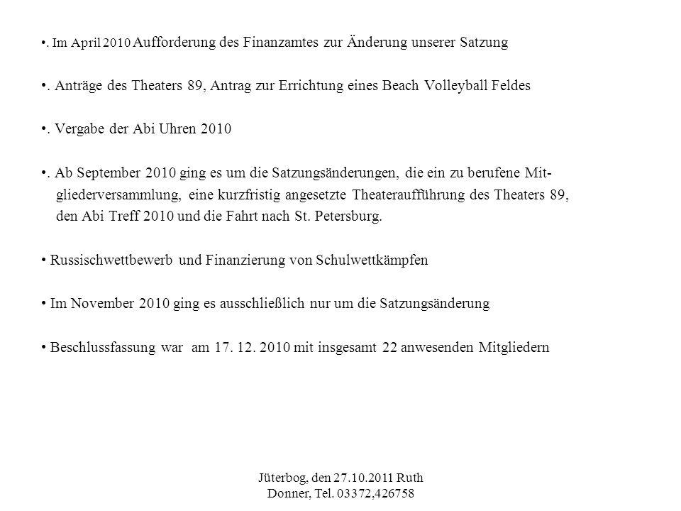 Jüterbog, den 27.10.2011 Ruth Donner, Tel. 03372,426758. Im April 2010 Aufforderung des Finanzamtes zur Änderung unserer Satzung. Anträge des Theaters