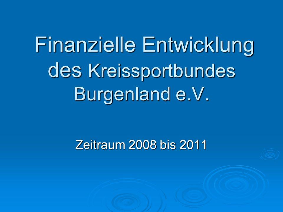 Finanzielle Entwicklung des Kreissportbundes Burgenland e.V. Finanzielle Entwicklung des Kreissportbundes Burgenland e.V. Zeitraum 2008 bis 2011