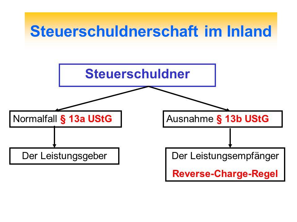 Steuerschuldnerschaft im Inland Steuerschuldner Normalfall § 13a UStG Der Leistungsgeber Ausnahme § 13b UStG Der Leistungsempfänger Reverse-Charge-Reg
