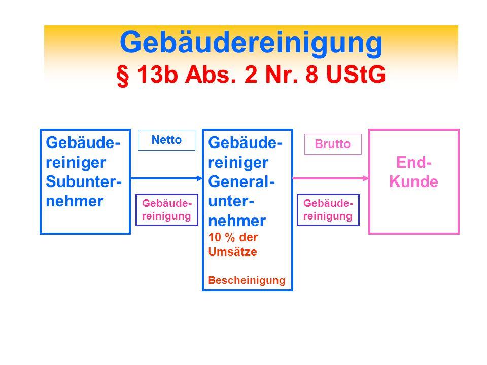 Gebäudereinigung § 13b Abs. 2 Nr. 8 UStG Gebäude- reiniger Subunter- nehmer Gebäude- reiniger General- unter- nehmer 10 % der Umsätze Bescheinigung En