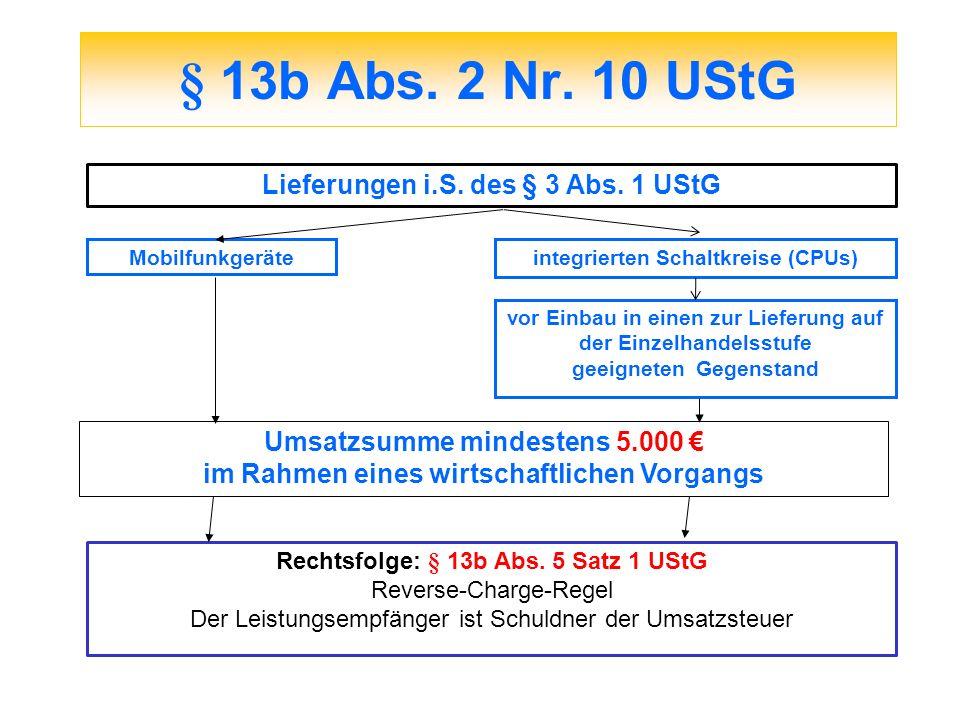 § 13b Abs. 2 Nr. 10 UStG Mobilfunkgeräteintegrierten Schaltkreise (CPUs) vor Einbau in einen zur Lieferung auf der Einzelhandelsstufe geeigneten Gegen