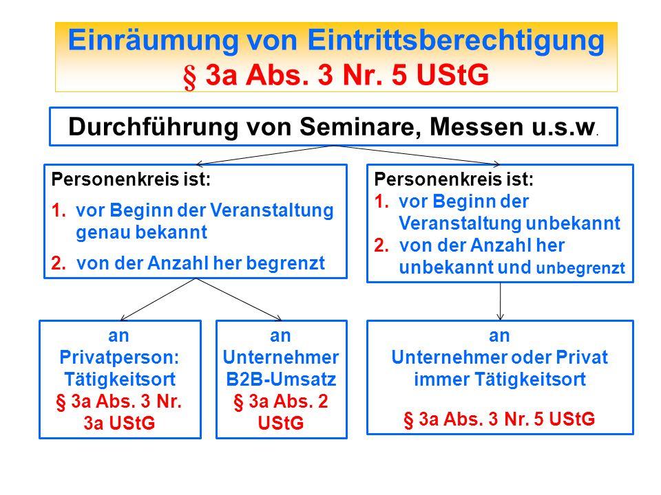 Einräumung von Eintrittsberechtigung § 3a Abs. 3 Nr. 5 UStG Durchführung von Seminare, Messen u.s.w. Personenkreis ist: 1.vor Beginn der Veranstaltung