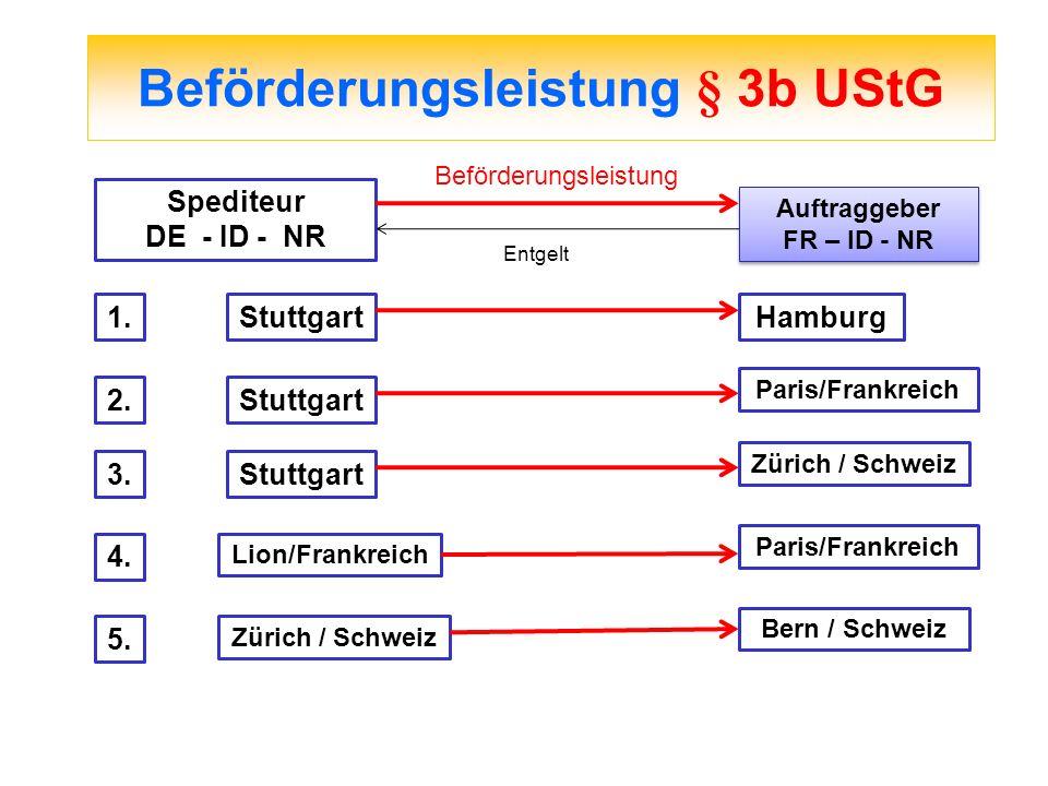 Beförderungsleistung § 3b UStG Spediteur DE - ID - NR Auftraggeber FR – ID - NR Auftraggeber FR – ID - NR Beförderungsleistung Entgelt 1.StuttgartHamb