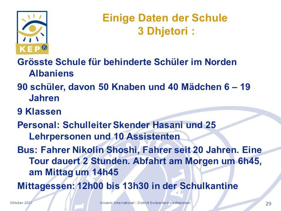 Oktober 2007Kiwanis International - District Switzerland-Liechtenstein 29 Einige Daten der Schule 3 Dhjetori : Grösste Schule für behinderte Schüler i