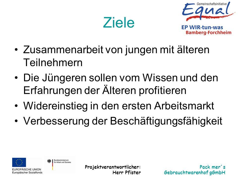 Projektverantwortlicher: Herr Pfister Pack mer´s Gebrauchtwarenhof gGmbH Ziele Zusammenarbeit von jungen mit älteren Teilnehmern Die Jüngeren sollen v