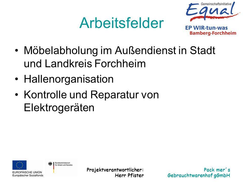 Projektverantwortlicher: Herr Pfister Pack mer´s Gebrauchtwarenhof gGmbH Arbeitsfelder Möbelabholung im Außendienst in Stadt und Landkreis Forchheim H