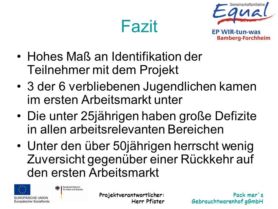 Projektverantwortlicher: Herr Pfister Pack mer´s Gebrauchtwarenhof gGmbH Fazit Hohes Maß an Identifikation der Teilnehmer mit dem Projekt 3 der 6 verb
