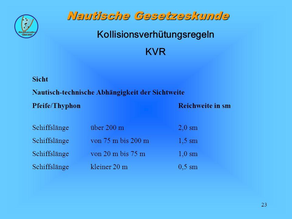 23 Nautische Gesetzeskunde Sicht Nautisch-technische Abhängigkeit der Sichtweite Pfeife/ThyphonReichweite in sm Schiffslänge über 200 m2,0 sm Schiffslänge von 75 m bis 200 m1,5 sm Schiffslängevon 20 m bis 75 m1,0 sm Schiffslängekleiner 20 m0,5 sm Kollisionsverhütungsregeln KVR