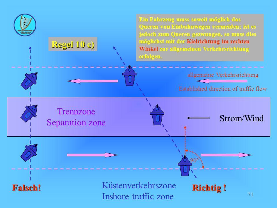 71 Strom/Wind allgemeine Verkehrsrichtung Trennzone Separation zone Established direction of traffic flow Küstenverkehrszone Inshore traffic zone Richtig .