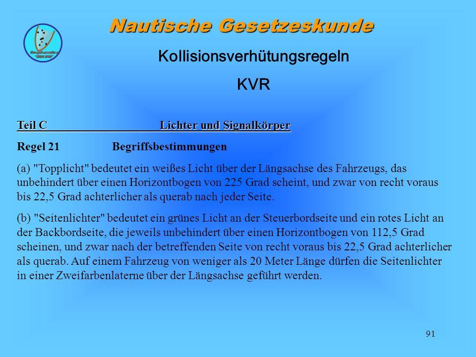 91 Nautische Gesetzeskunde Teil CLichter und Signalkörper Regel 21Begriffsbestimmungen (a)