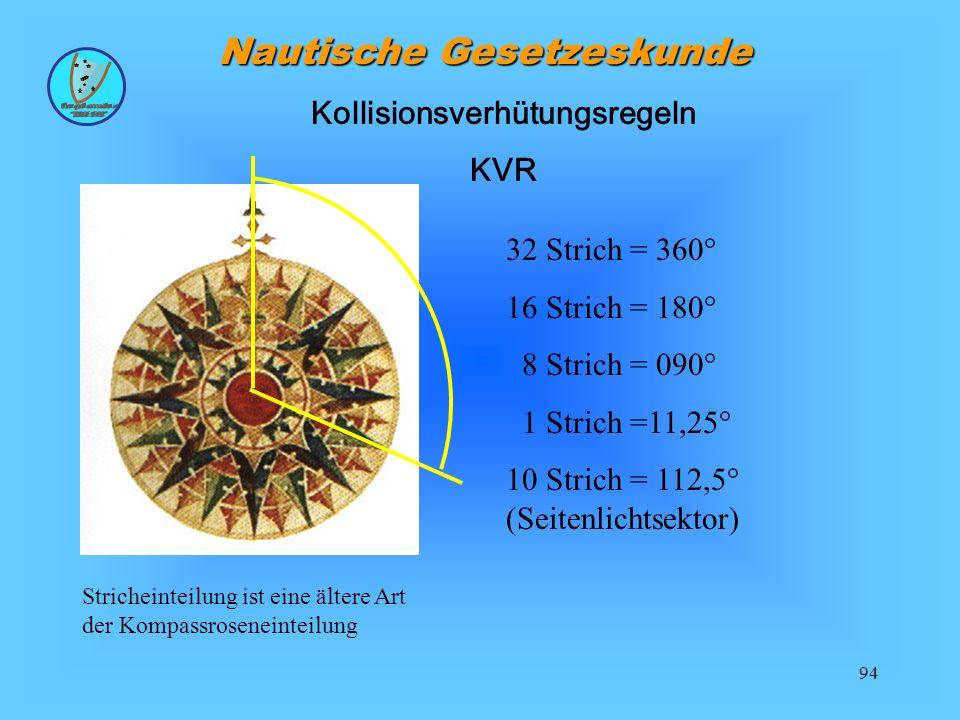 94 Nautische Gesetzeskunde Kollisionsverhütungsregeln KVR Stricheinteilung ist eine ältere Art der Kompassroseneinteilung 32 Strich = 360° 16 Strich = 180° 8 Strich = 090° 1 Strich =11,25° 10 Strich = 112,5° (Seitenlichtsektor)
