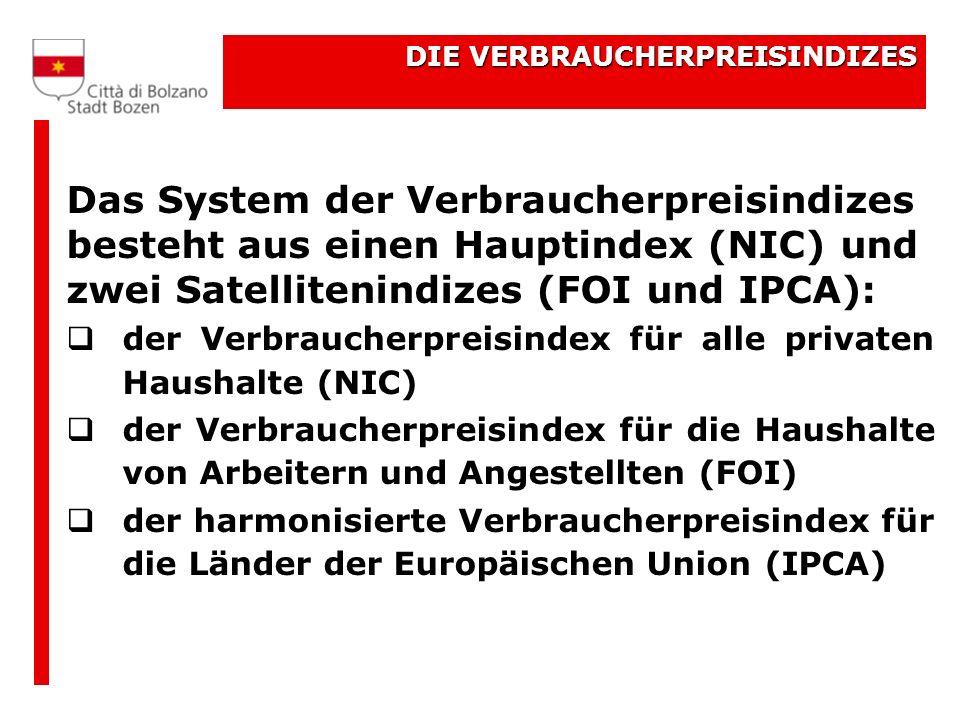 DIE VERBRAUCHERPREISINDIZES Das System der Verbraucherpreisindizes besteht aus einen Hauptindex (NIC) und zwei Satellitenindizes (FOI und IPCA): der Verbraucherpreisindex für alle privaten Haushalte (NIC) der Verbraucherpreisindex für die Haushalte von Arbeitern und Angestellten (FOI) der harmonisierte Verbraucherpreisindex für die Länder der Europäischen Union (IPCA)