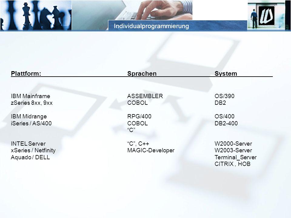 Individualprogrammierung Plattform:SprachenSystem IBM MainframeASSEMBLEROS/390 zSeries 8xx, 9xxCOBOLDB2 IBM MidrangeRPG/400OS/400 iSeries / AS/400COBO