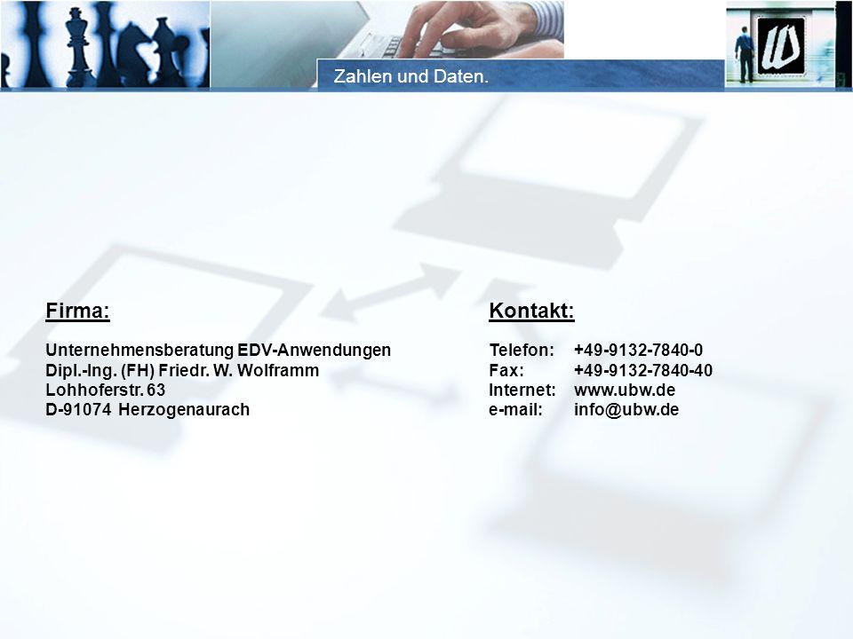 Zahlen und Daten. Firma: Unternehmensberatung EDV-Anwendungen Dipl.-Ing. (FH) Friedr. W. Wolframm Lohhoferstr. 63 D-91074 Herzogenaurach Kontakt: Tele