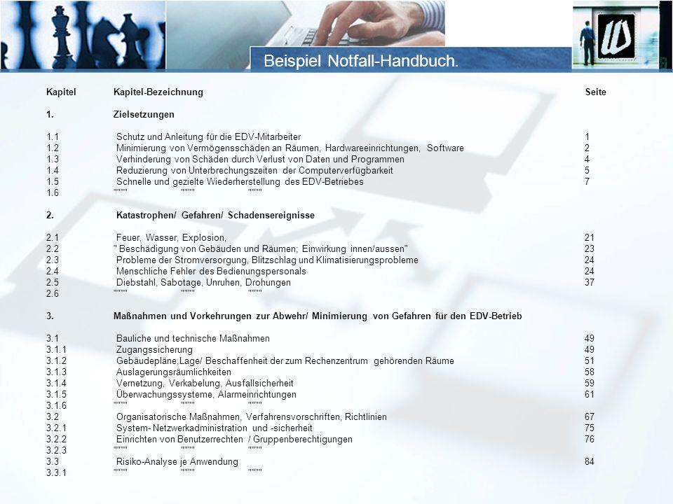 Beispiel Notfall-Handbuch. KapitelKapitel-BezeichnungSeite 1.Zielsetzungen 1.1 Schutz und Anleitung für die EDV-Mitarbeiter1 1.2 Minimierung von Vermö