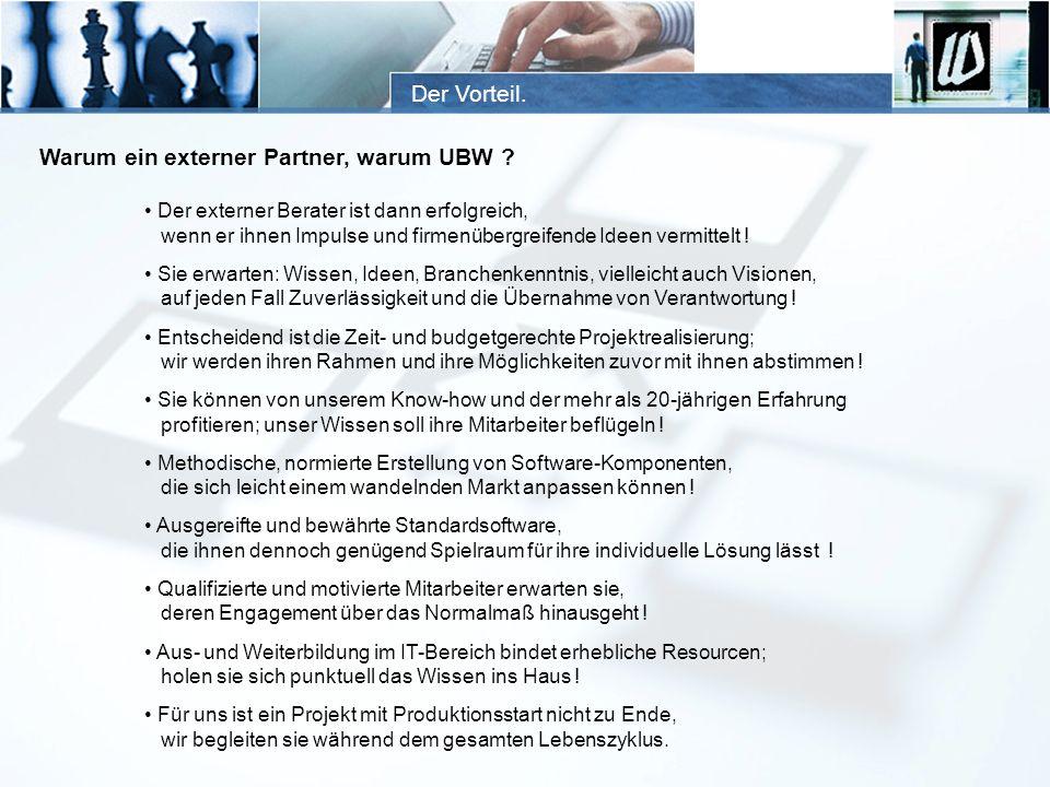 Der Vorteil. Warum ein externer Partner, warum UBW ? Der externer Berater ist dann erfolgreich, wenn er ihnen Impulse und firmenübergreifende Ideen ve