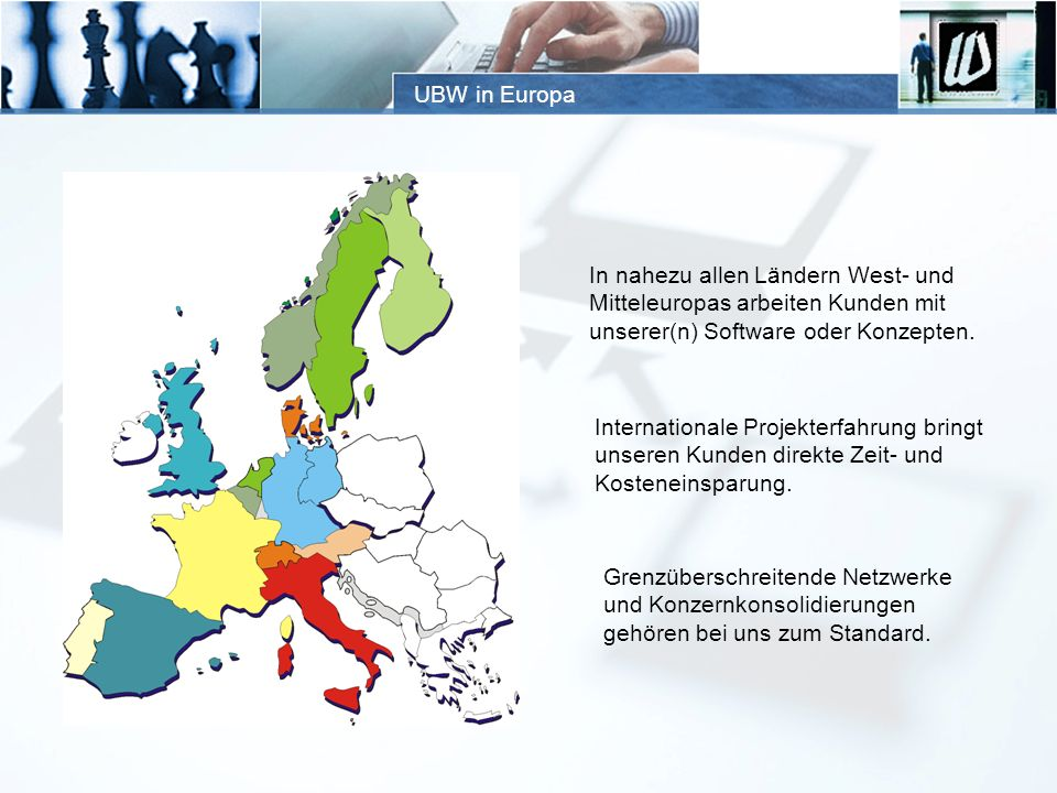 UBW in Europa In nahezu allen Ländern West- und Mitteleuropas arbeiten Kunden mit unserer(n) Software oder Konzepten. Internationale Projekterfahrung
