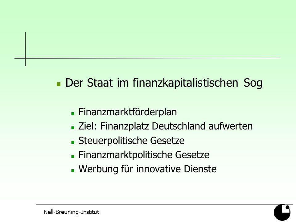 Nell-Breuning-Institut Der Staat im finanzkapitalistischen Sog Finanzmarktförderplan Ziel: Finanzplatz Deutschland aufwerten Steuerpolitische Gesetze Finanzmarktpolitische Gesetze Werbung für innovative Dienste