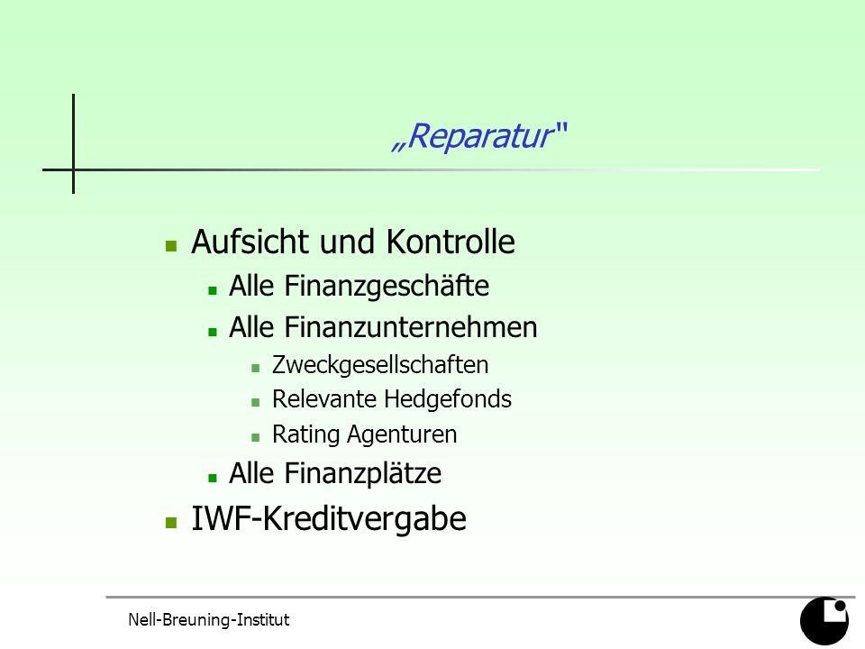 Nell-Breuning-Institut Reparatur Aufsicht und Kontrolle Alle Finanzgeschäfte Alle Finanzunternehmen Zweckgesellschaften Relevante Hedgefonds Rating Agenturen Alle Finanzplätze IWF-Kreditvergabe