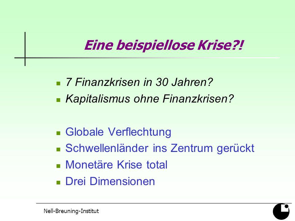 Nell-Breuning-Institut Eine beispiellose Krise . 7 Finanzkrisen in 30 Jahren.