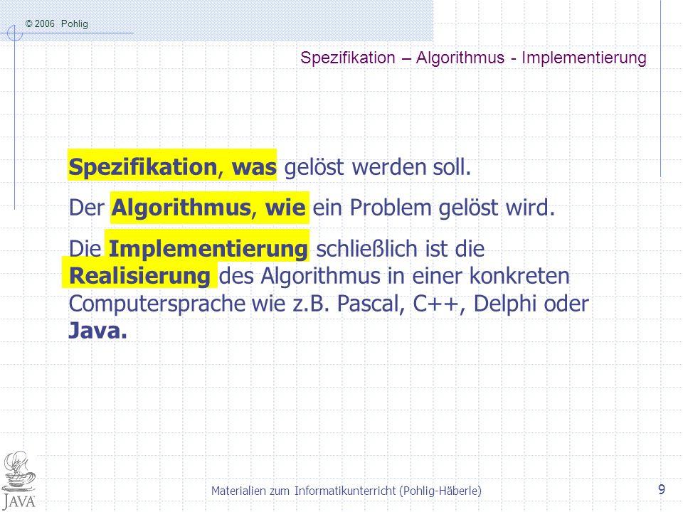 © 2006 Pohlig Materialien zum Informatikunterricht (Pohlig-Häberle) 9 Spezifikation – Algorithmus - Implementierung Spezifikation, was gelöst werden s