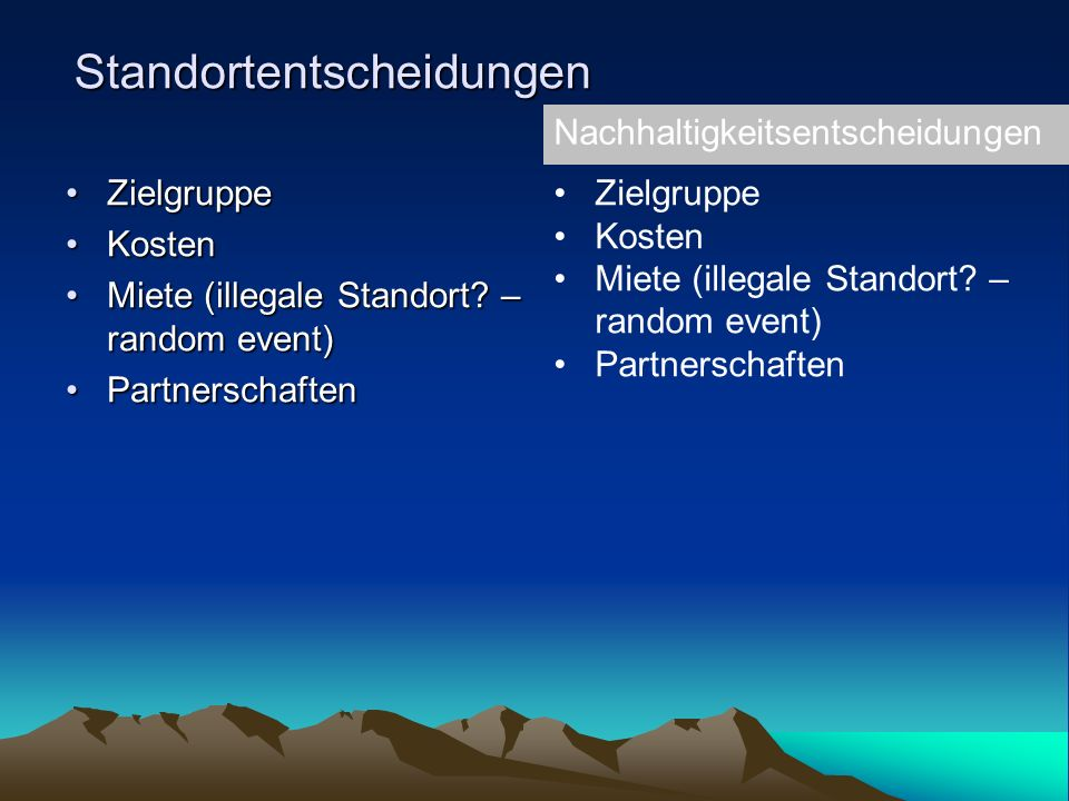 Standortentscheidungen ZielgruppeZielgruppe KostenKosten Miete (illegale Standort.