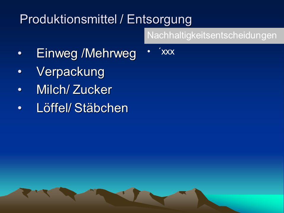 Produktionsmittel / Entsorgung Einweg /MehrwegEinweg /Mehrweg VerpackungVerpackung Milch/ ZuckerMilch/ Zucker Löffel/ StäbchenLöffel/ Stäbchen Nachhaltigkeitsentscheidungen ´xxx