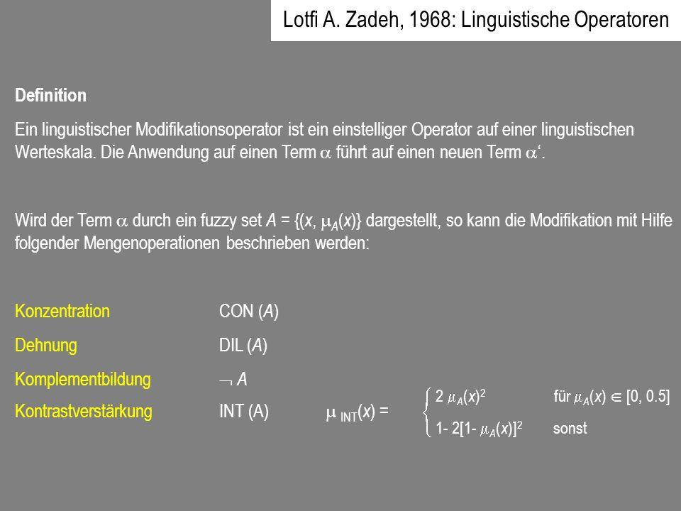 Definition Ein linguistischer Modifikationsoperator ist ein einstelliger Operator auf einer linguistischen Werteskala. Die Anwendung auf einen Term fü