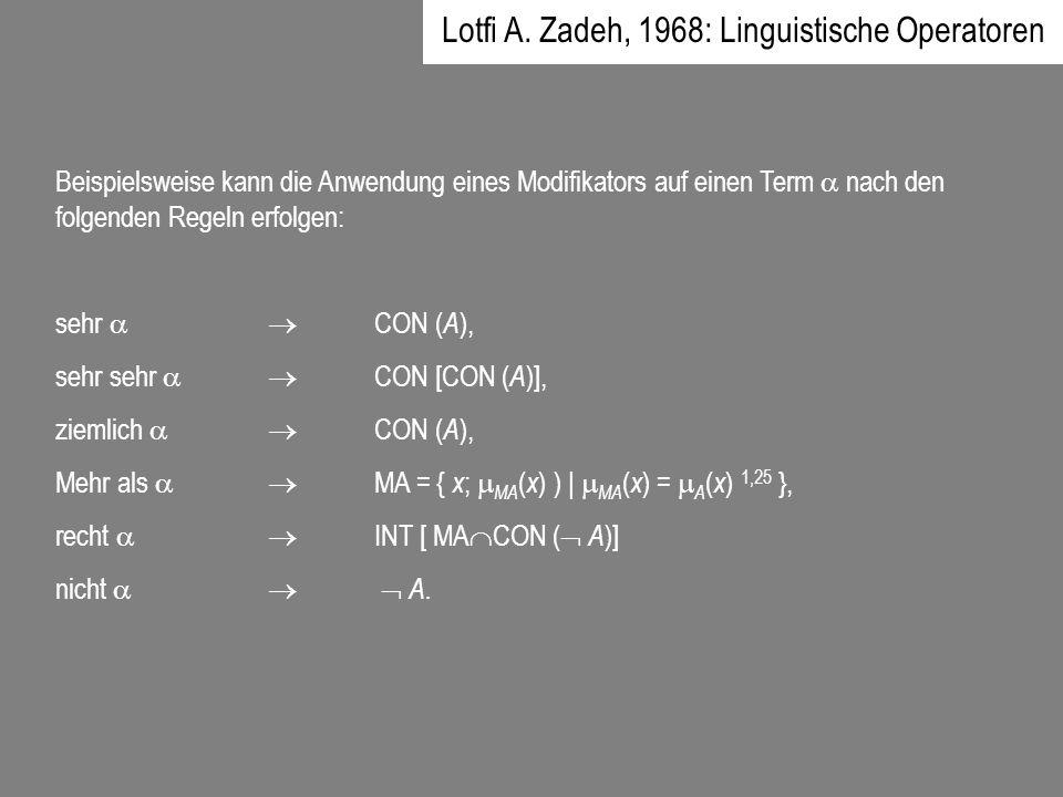 Beispielsweise kann die Anwendung eines Modifikators auf einen Term nach den folgenden Regeln erfolgen: sehr CON ( A ), sehr sehr CON [CON ( A )], zie