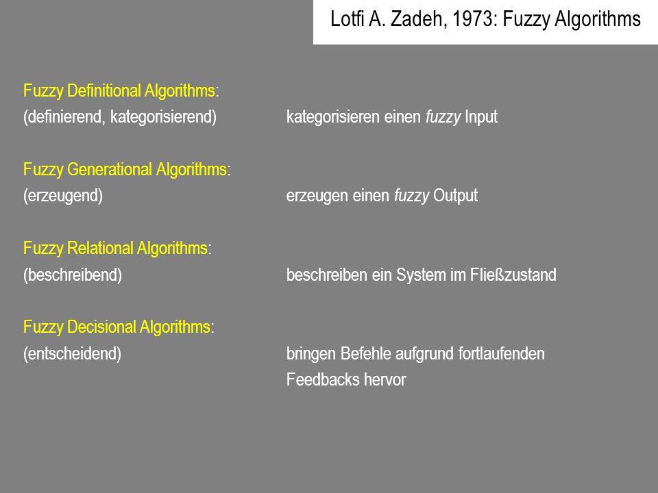Fuzzy Definitional Algorithms: (definierend, kategorisierend)kategorisieren einen fuzzy Input Fuzzy Generational Algorithms: (erzeugend)erzeugen einen