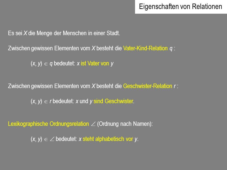Identitäts- oder Gleichheitsrelation: In jeder Menge X ist jedes Element x X mit sich selbst identisch: ( x, x) = bedeutet: x ist gleich x.