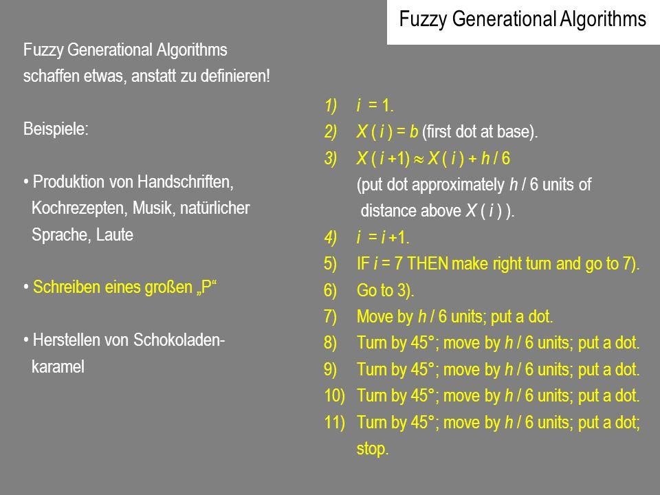 Fuzzy Generational Algorithms schaffen etwas, anstatt zu definieren! Beispiele: Produktion von Handschriften, Kochrezepten, Musik, natürlicher Sprache