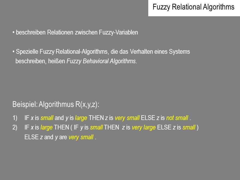 beschreiben Relationen zwischen Fuzzy-Variablen Spezielle Fuzzy Relational-Algorithms, die das Verhalten eines Systems beschreiben, heißen Fuzzy Behav