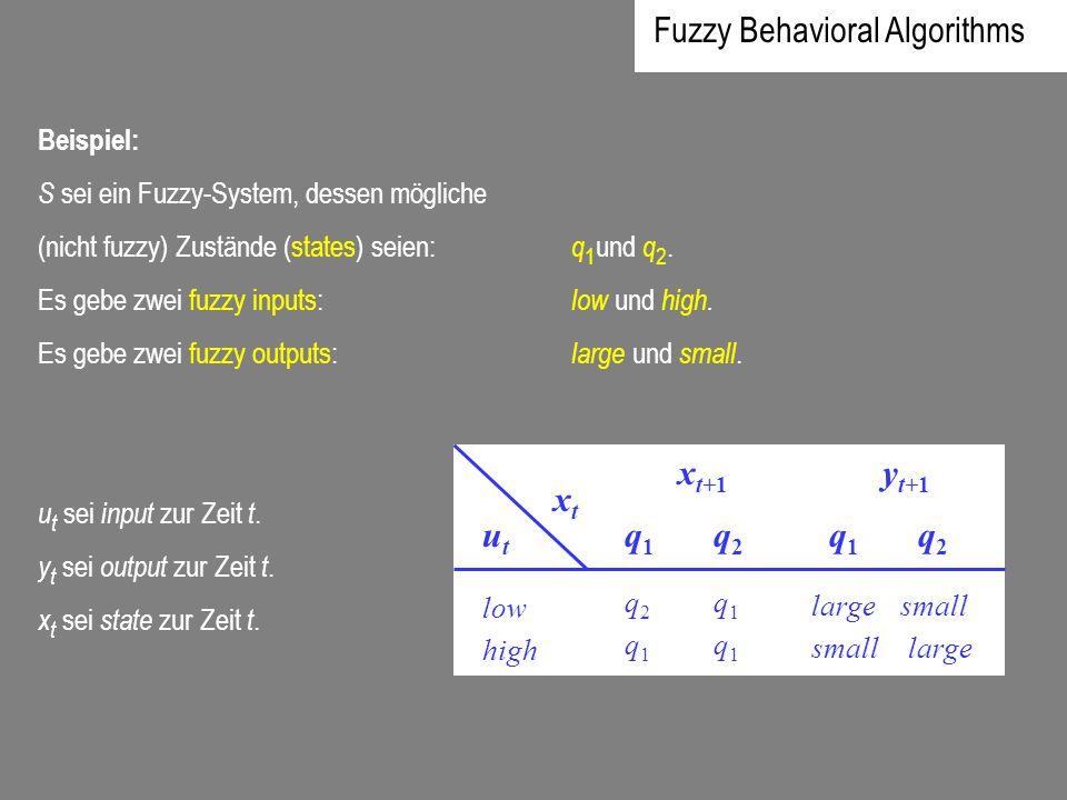 Beispiel: S sei ein Fuzzy-System, dessen mögliche (nicht fuzzy) Zustände (states) seien: q 1 und q 2. Es gebe zwei fuzzy inputs: low und high. Es gebe