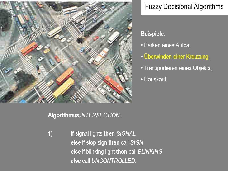 Beispiele: Parken eines Autos, Überwinden einer Kreuzung, Transportieren eines Objekts, Hauskauf. Algorithmus INTERSECTION : 1) If signal lights then